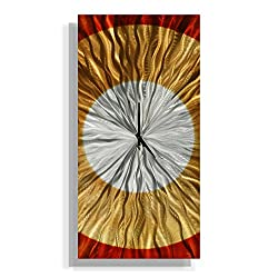 Statements2000 Rectangular Abstract Silver, Amber and Copper Wall Clock Sculpture - Functional Modern Contemporary Decor Art Accent - Dusk by Jon Allen - 24-inch
