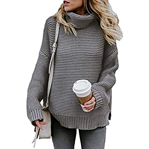 ZKESS Women's Casual Turtle Neck Loose Oversized Pullover Sweater Cable Knitted Grey S