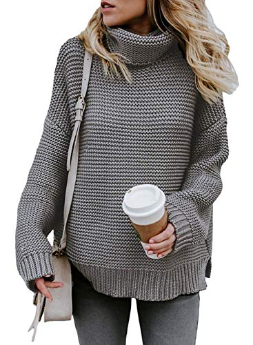 ZKESS Womens Cable Knit Long Sleeves Turtleneck Sweater for Womens Grey Medium Size Cable Knit Turtleneck Sweater