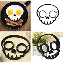 Spooky Halloween Owl & Skull Nonstick Silicone Egg Ring Maker Mold Shaper Combo / Breakfast Sandwich Pancake Omelet Novelty, Set of 2 by Silicone Alley