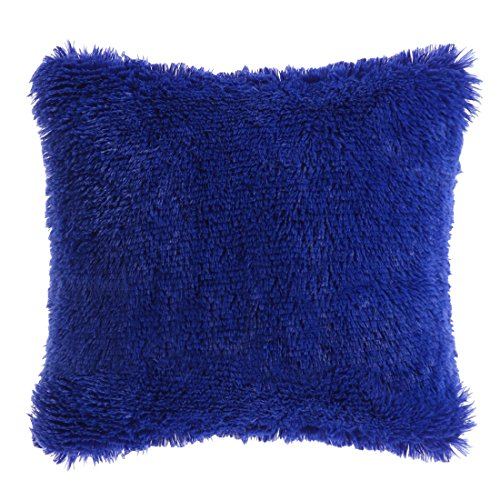 (PICCOCASA Faux Fur Throw Pillow Cover,Fluff Plush Cushion Cover Mongolian Luxury Pillow Case Soft Pillow Protector for Home/Sofa/Couch/Bed/Car(20 x 20 Inch 50 x 50 cm, Royal Blue))