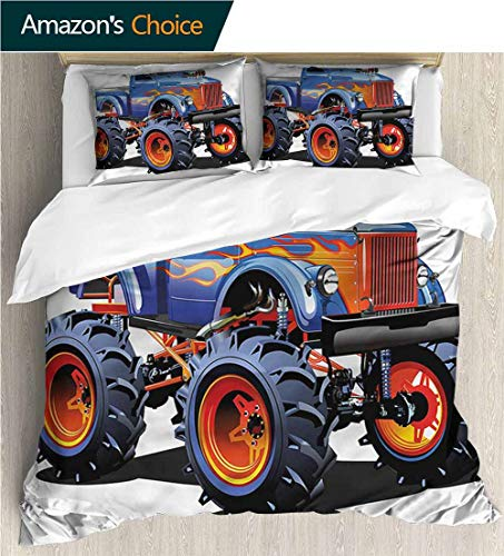 carmaxs-home 3D Bedding Quilt Set,Box Stitched,Soft,Breathable,Hypoallergenic,Fade Resistant Reversible Coverlet,Bedspread,Gifts for Girls Women-Man Cave Monster Truck Huge Tyres (80
