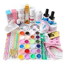 Coscelia Full 24 Color Acrylic Powder Glitter Liquid Nail Art Kit UV Gel Primer Tools