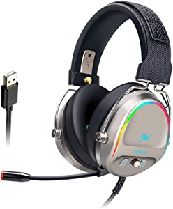 HANYF Head-Mounted Gaming Headset, 20-20000Hz Headset Gaming Headset, Suitable for Desktop Notebook Wired 7.1 Channel, 350G,Gold