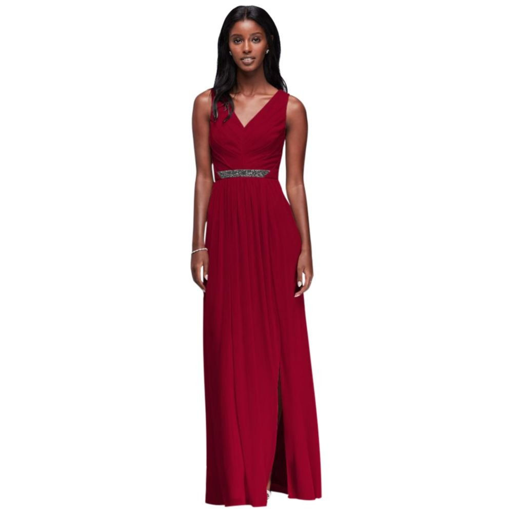 a112278b5c David's Bridal Long Mesh Bridesmaid Dress with V-Neck and Beaded Waistband  Style W11092 at Amazon Women's Clothing store: