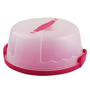 Portable Round Cake Carrier with Handle Pie Saver Cupcake Container Up to 10 Inch Translucent Dome for Transporting Cakes, Cupcakes, Cookies, Pies, or Other Desserts (Pink)