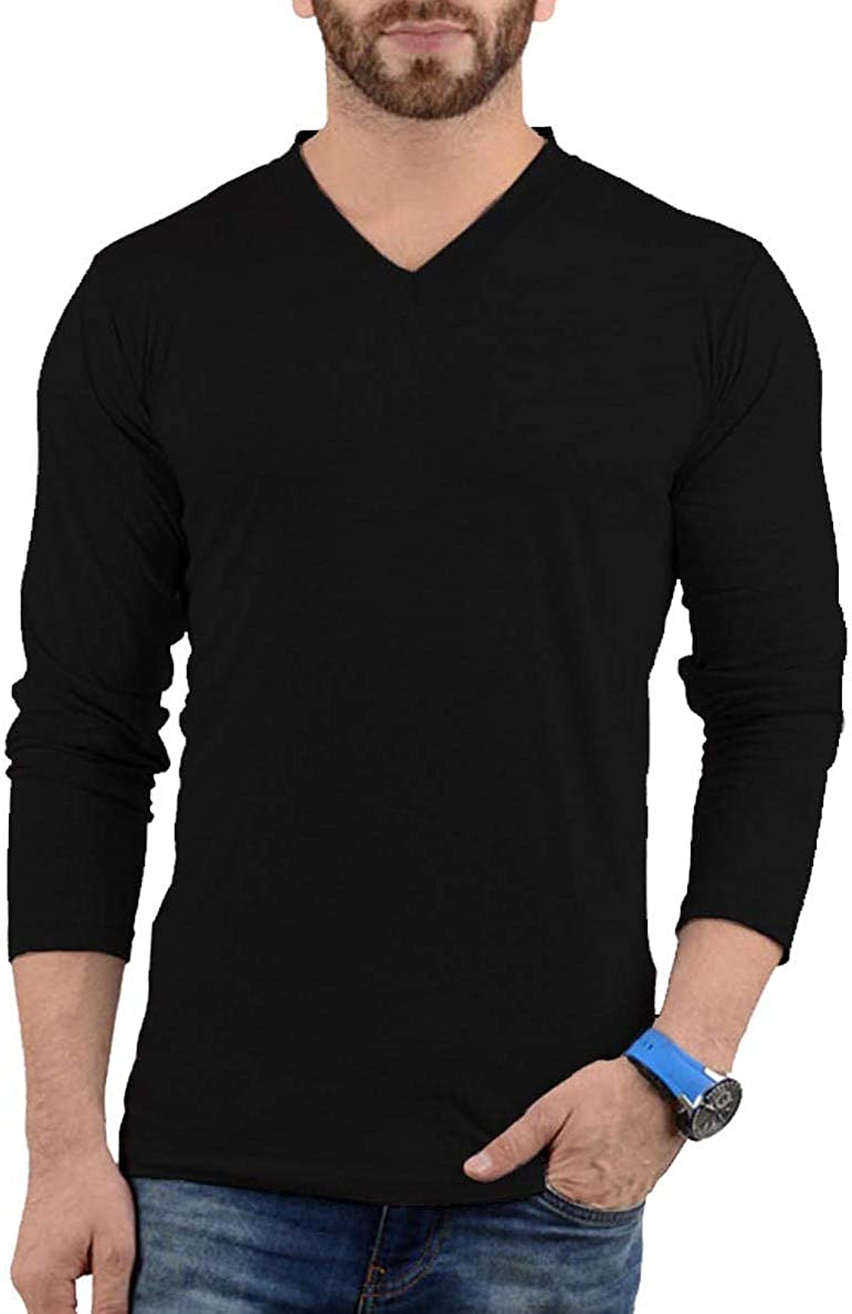 Plain Long Sleeve Shirt Men - Grey & Black Soft Cotton V Neck Full Sleeves Jersey