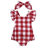 Newborn Toddler Baby Girl Bodysuit Cotton Plaids Bebes Romper Outfit with Bow...