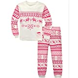 "Pandabeauty Girls""red deer"" 2 Piece Pajama 100% Cotton (Size2T-7T)"