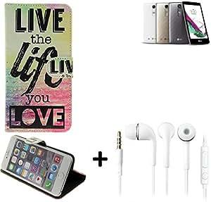360° Funda Smartphone para Huawei Ascend G600, 'live the life you love' + auriculares | Wallet case flip cover caja bolsa Caso Monedero BookStyle - K-S-Trade