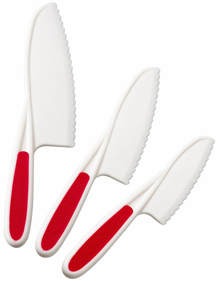 StarPack Nylon Kitchen Knife Set (3 Piece) - The Perfect Kids Knife, Lettuce Knife and Safe Kitchen Knife - Bonus 101 Cooking Tips