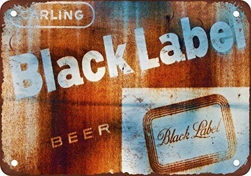 (F-MORE Rusty Carling Black Label Beer Vintage Look Reproduction Metal Tin Sign 8X12 Inches)