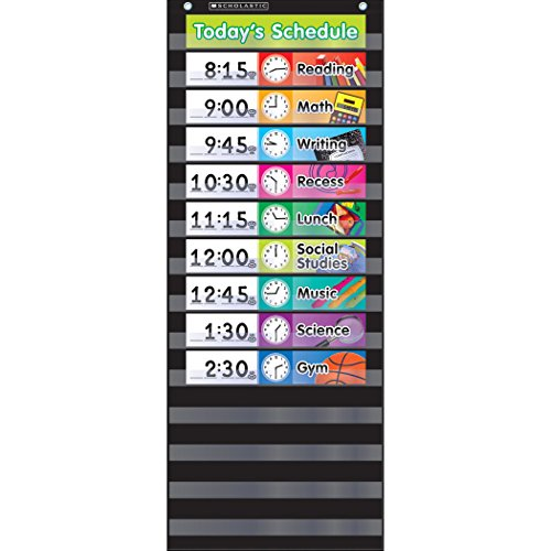 Scholastic SC-583865 Daily Schedule Pocket Chart with Cards, Black (Pack of 16) (Scholastic Schedule Pocket Chart)
