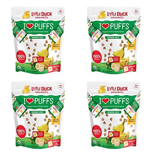 Little Duck Organics, I Love Puffs, Organic Fruit & Grain Snack Puffs, Banana Kale, 4 Bags