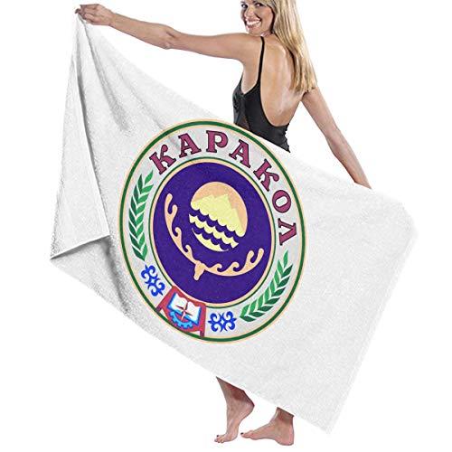 チューブラフ睡眠階段ビーチバスタオル バスタオル キルギス国家紋章の紋章 ビーチタオル 海水浴 旅行用タオル 多用途 おしゃれ White