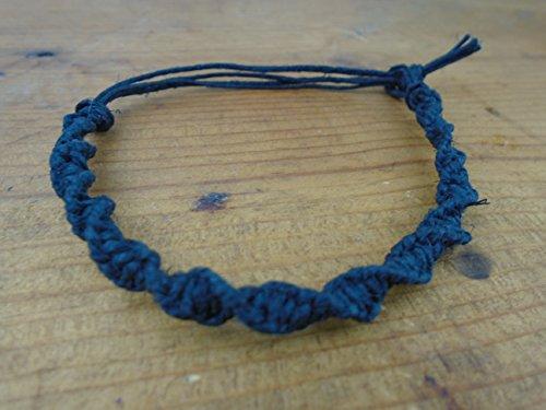 Black Twist Hemp Anklet Bracelet Adjustable 6-10 inches