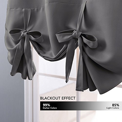 NICETOWN Thermal Insulated Blackout Curtain - Grey Tie Up Shade for Small Window, Window Valance Balloon Blind (Rod Pocket Panel, 46'' W x 63'' L) by NICETOWN (Image #4)'