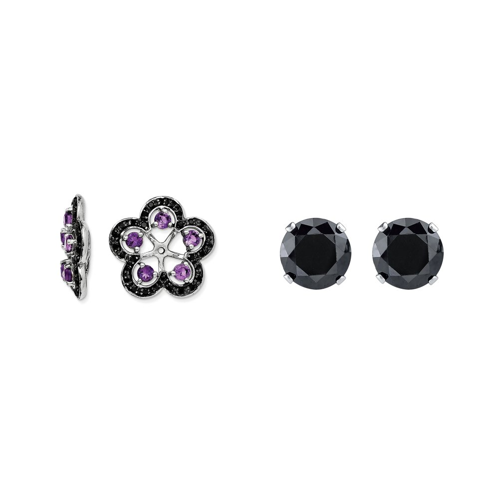 Sterling Silver Simulated Amethyst, Black Simulated Sapphire Earring Jacket + 2mm Black CZ Stud Earrings