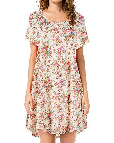 - JollieLovin Women's Tunic Top Casual Short Sleeve Swing Loose T-Shirt Dress (2X, 7-Yellow)