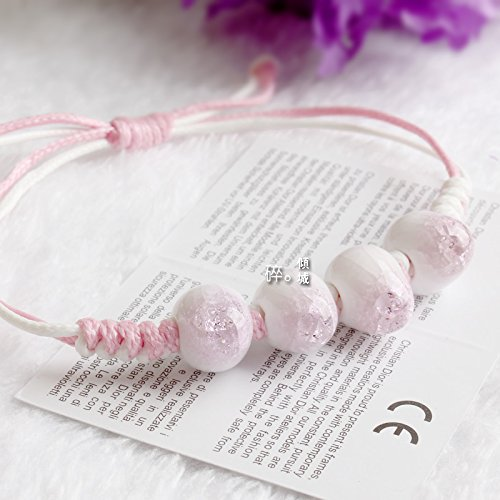 Empty Orchids Mermaid Tears Couple Lover Crack Glazed Ceramic Bracelet Bangle (Pink ()