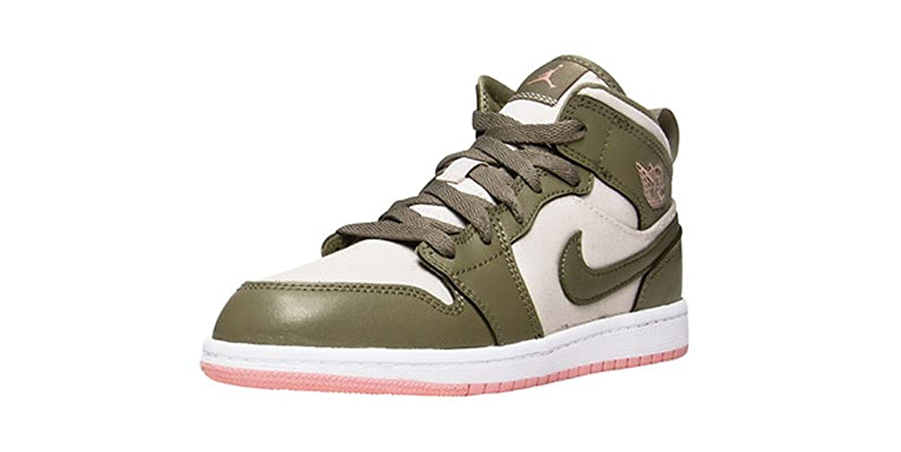Jordan Retro 1 Mid Trooper/Bleached Coral (Little Kid)