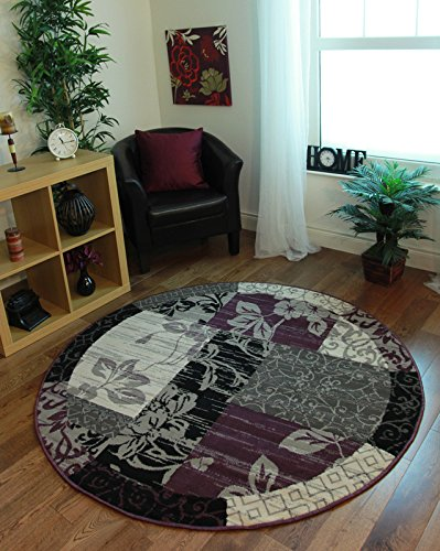Milan Purple, Black & Gray Patchwork Area Rug 1568-H33 - 5'3 Diameter (Purple Circle)