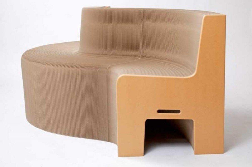 FlexibleLove Earth, Ziehharmonika- Sofa/ Zieharmonika- Bank aus Papier mit Sitzkomfort (Sitzhöhe: 46cm) für bis zu 12 Personen