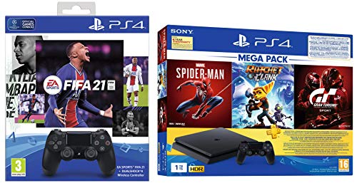 PS4 1TB Slim Bundled with Spider-Man, GTaSport, Ratchet & Clank And PSN 3Month&PS4 Dualshock4 Wireless Controller Black…