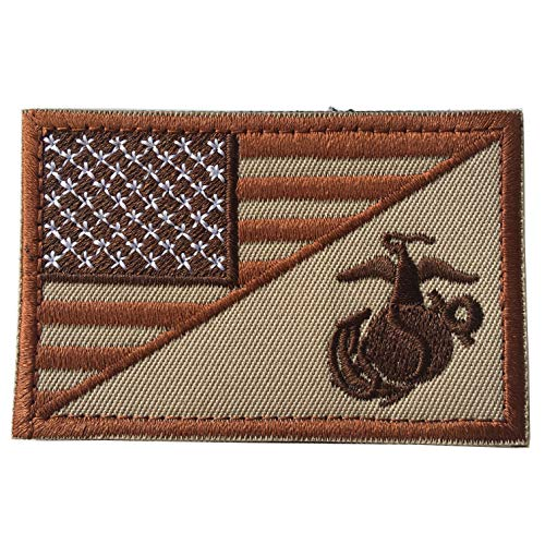Usmc Military Patch - USA American Flag w/Marine Corps USMC Military Tactical Morale Badge Patch 3