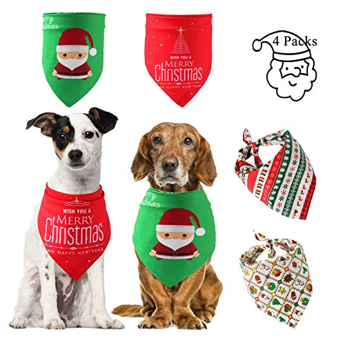 Christmas Dog Bandanas, Bulk Cute Pet Scarf for Cat with Santa Snow Reindeer Christmas Tree Red Green, Puppy Neckerchief for Gift Midium Small Large Dog (Christmas 4 Packs Dog) (Best Thing At Red Robin)