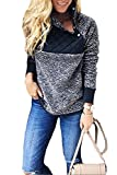Minipeach Women's Long Sleeve Oblique Neck Fleece Pullover Sweatshirts Outwear Tops