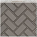 Champagne Bevel Herringbone 11.08 in. x 13.86 in. x 8 mm Glass Mesh-Mounted Mosaic Tile (2''x4'' Mosaic Chips)