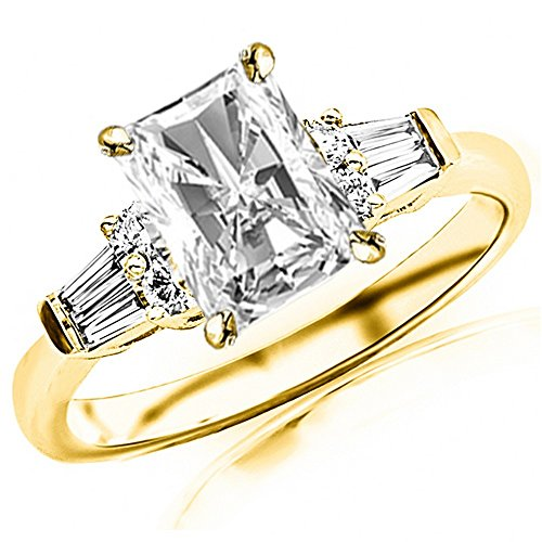 1 Carat 14K Yellow Gold Baguette Round Radiant Cut Diamond Engagement Ring (0.75 Ct G Color VS2 Clarity Center Stone) (Radiant Cut Three Stone Diamond Engagement Rings)