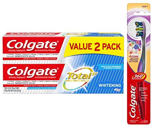 Colgate Total Whitening Toothpaste 4.8 ounce, 2 pack + Colgate 360 Advanced 4 Zone Toothbrush, Soft