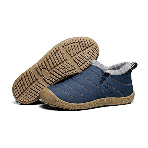 Stivaletti Phefee Invernali Caldo Donna Piatto Pelliccia Neve Caviglia Stivali Boots Blu Top Scarpe Antiscivolo Low Stringate Uomo All'aperto dqYqxwg