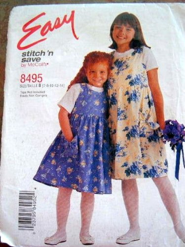 McCall's Easy Stitch 'N Save 8495 Size 7-14 Childrens and Girls Jumper Sewing Pattern - Pattern Girls Jumper