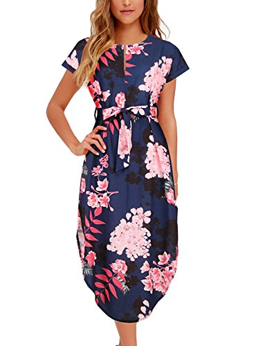 BOKALY Women's Short Sleeve V Neck Floral Print Casual Midi Dress with...