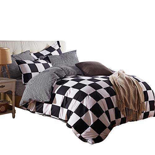 Pillow Checkered (ZHIMIAN Microfiber Modern 3 Piece Reversible Duvet Cover Sets Black and White Contrast -1 Duvet Cover + 2 Pillow Shams(King Grid))