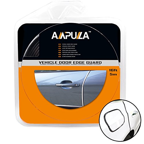 Ampulla 16 ft Car Door Edge Guards For Most Sedans and SUV, Durable and Cleanly Removable Built in Adhesive and 3M Adhesive Tape Tool Free Installation 16ft/5m (Jet Black) Chrome Door Edge Guards