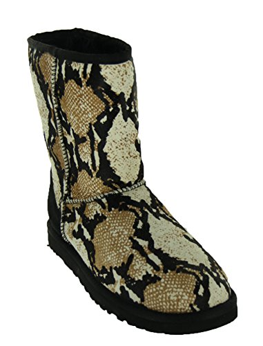 Australia Womens Classic Ugg Short (UGG Australia Womens Classic Short Reptile Calf Hair Boot Black Size 6)