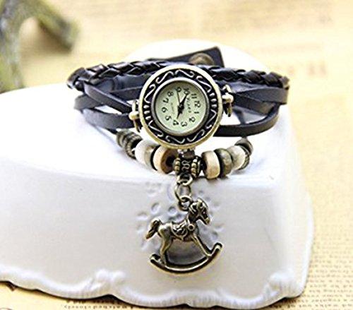 PromiseU Vintage Bracelet Watch Horse Pendant Genuine Leather Quartz Wrist Watches