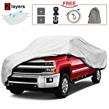 Kakit Pickup Truck Cover, Waterproof Scratch Resistant All Weather Truck Cover with Windproof Ribbon & Anti-theft Lock for Automobiles Outdoor Indoor Fit Truck up to 224''