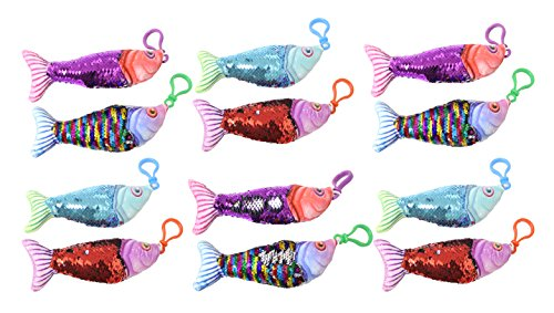 Curious Minds Busy Bags BULK - 12 Plush Fish with Mermaid 2-Color Reversible Sequin with Bag Clip- Sensory Fidget - Sequin Fish
