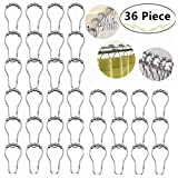 36 Piece Shower Curtain Roller Hook Rings, Carnatory Polished Chrome Rustproof Stainless Steel Curtain Rings with Round Rollers for Bathroom Shower Rod