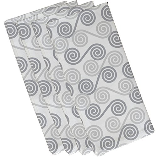 E by design N4G770GY1 Rip Curl Geometric Print Napkin (Set of 4), 19'' x 19'', Gray by E by design