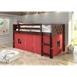 DONCO KIDS Circle Cappuccino Low Loft with Red Tent, Twin