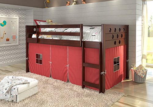 DONCO KIDS Circle Cappuccino Low Loft with Red Tent , Twin by Donco Kids
