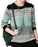 ARTFFEL-Women Hip Hop Crewneck Contrast Color Knitting Pullover Bottoming Sweater 1 L