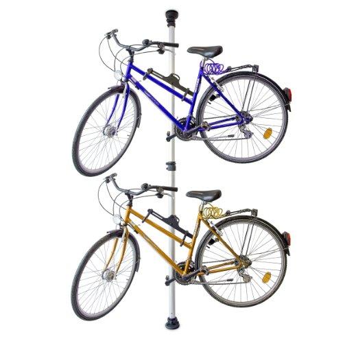 Relaxdays Teleskop Fahrradhalterung für 2 Fahrräder verstellbar von 160 bis 340 cm - ausziehbarer Fahrradhalter Garage aus Alu & Kunststoff Fahrradaufbewahrung stabil gespannt zwischen Boden & Decke