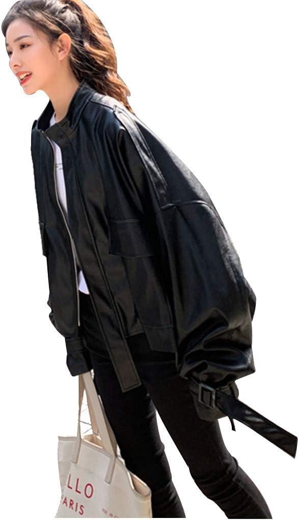 ZYCSKTL Cazadora Moto Mujer,Cuero De Las Señoras Jacketm, Otoño E Invierno De Las Chaquetas De Piel De Mujer, Guapo Sueltos Chaquetas De La Motocicleta (Color : Black-S)